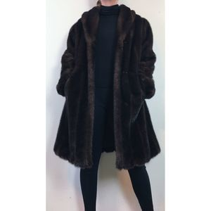 Vintage Mink Faux Fur Coat with Pockets